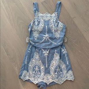 Blue lace 2-piece set with shorts & tank size S